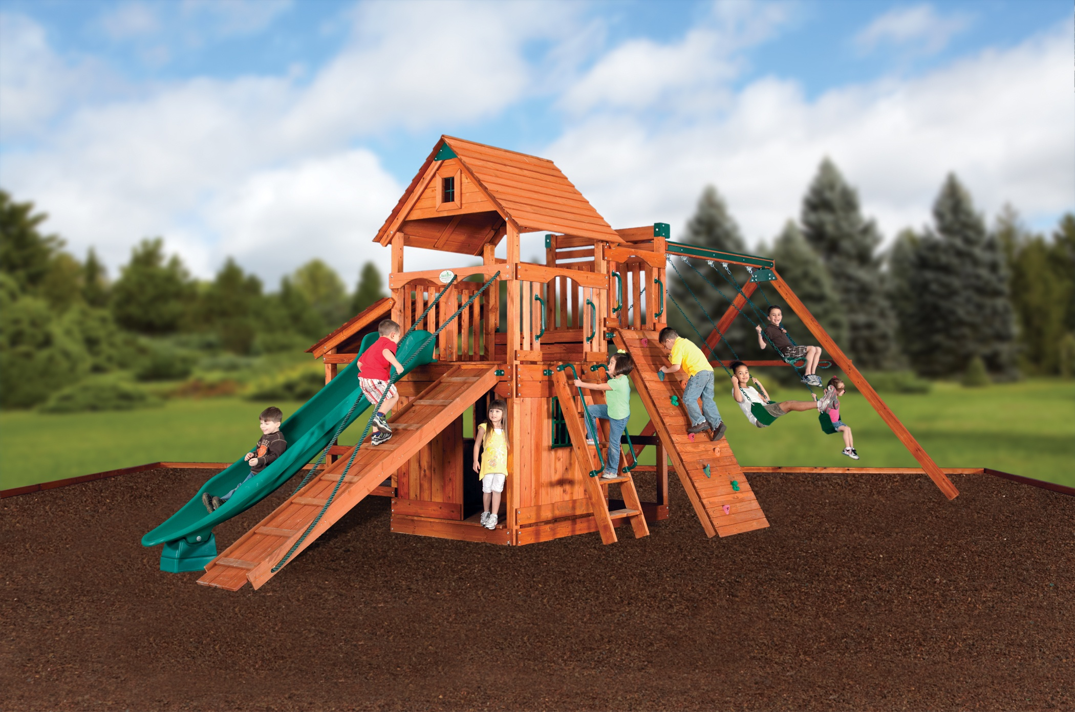 Backyard Adventures Idaho Magellan 5 wooden playset installed