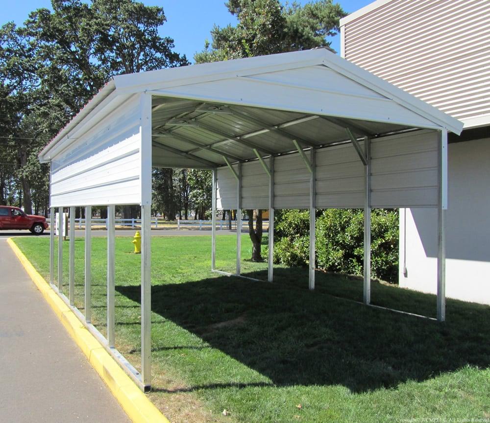 Metal Carport with vertical roof