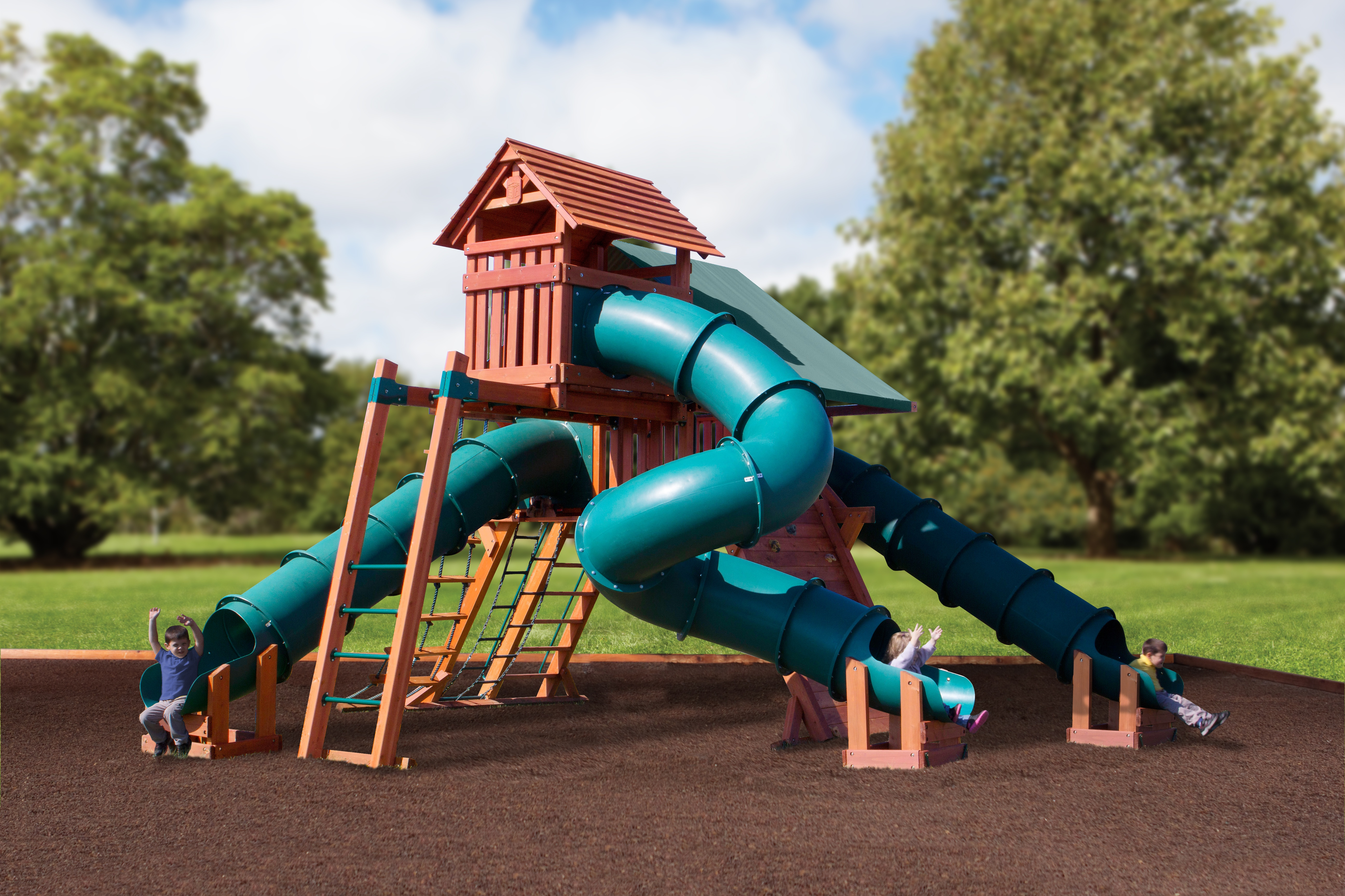Multi slide idaho wooden playset installed